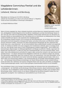 """Aufsatz """"Magdalene Commichau-Trenkel und die Loheländerinnen"""" von Elisabeth Mollenhauer-Klüber (Archiv Stiftung Loheland)"""