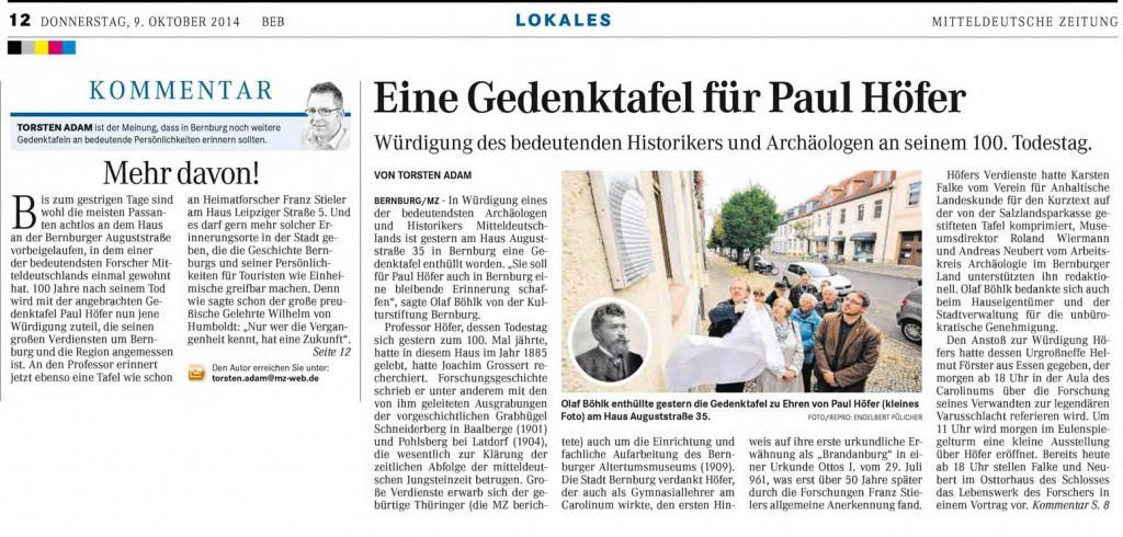 Presseartikel in der Lokalausgabe Bernburg der Mitteldeutschen Zeitung vom 09.10.2014.
